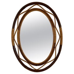 Mid-Century Modern French Wicker and Cane Oval Wall Mirror, 1960s