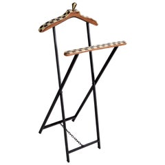 Mid-Century Modern French Wood Marquetry and Metal Men's Valet Stand, Coat Stand