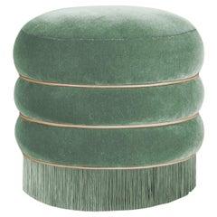 Mid-Century Modern Fringes Audrey Walnut Wood Cotton Velvet
