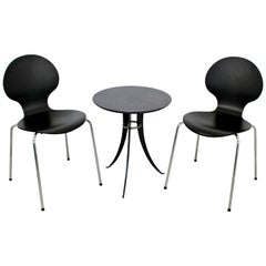 Mid-Century Modern Fritz Hansen Pair of Black Chairs & Cafe Table, 1960s Denmark