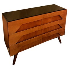 Mid-Century Modern Fruitwood Stylish Italian Dresser with Mirror Top
