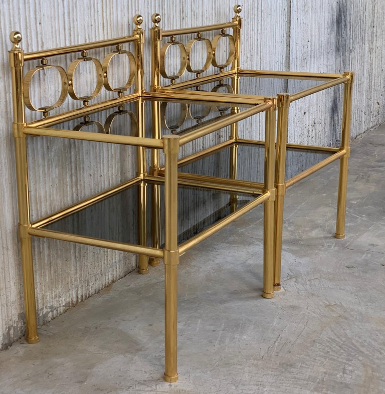 Mid Century Modern Full Brass Headboard Featuring Gometrical FIgures For Sale 5