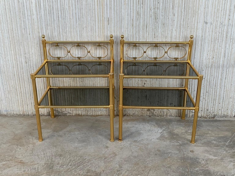 Mid Century Modern Full Brass Headboard Featuring Gometrical FIgures For Sale 3
