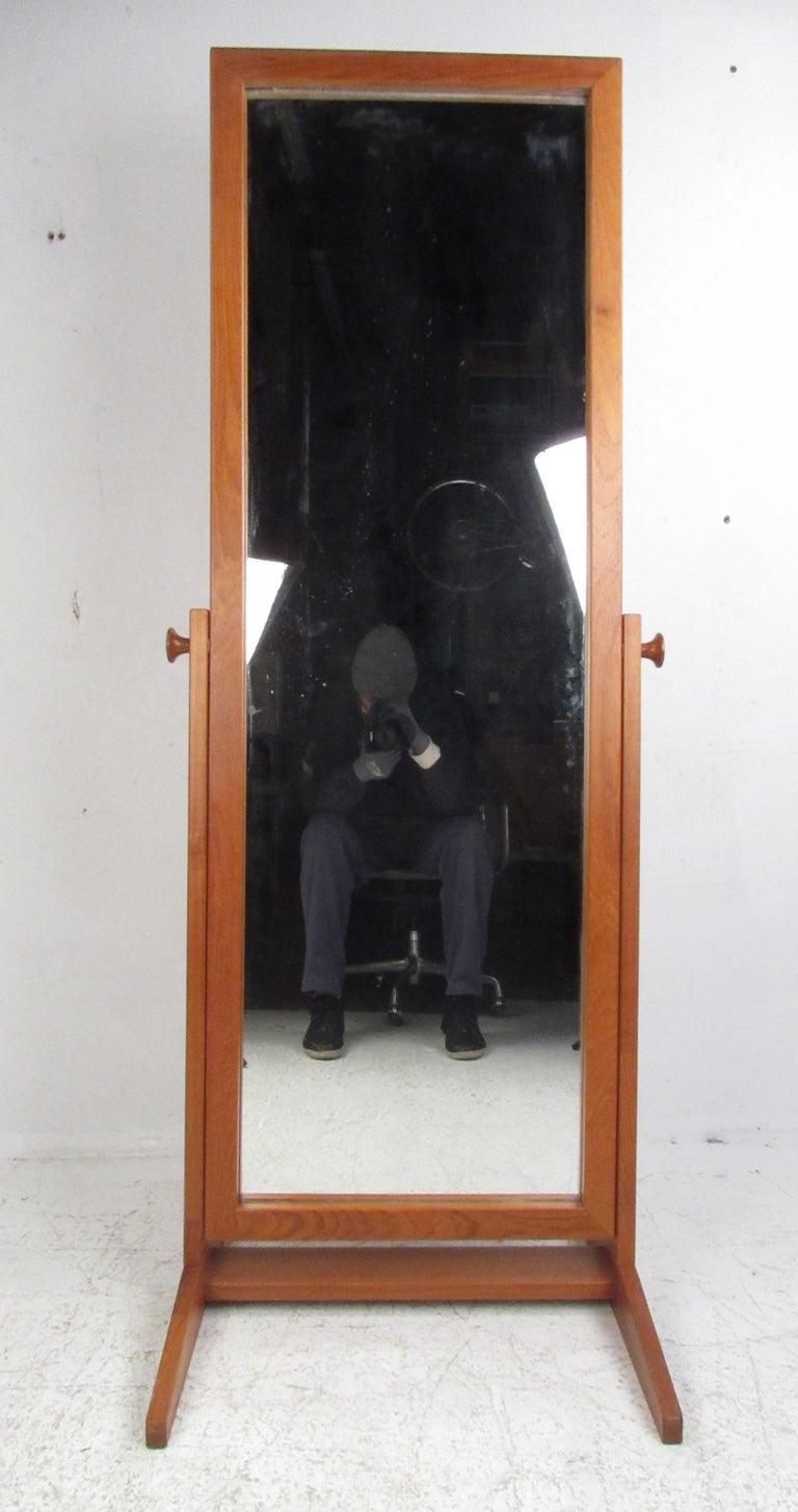 Mid Century Modern Full Length Teak Mirror By Pederson And