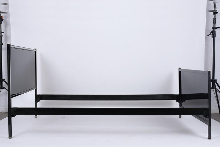 Metal Mid-Century Modern Bed Frame & Nightstand For Sale