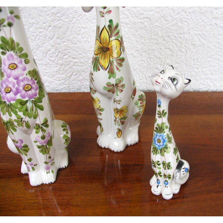 Mid-Century Modern Funny Ceramic Cats and Dog, Italy, 1970s For Sale 4