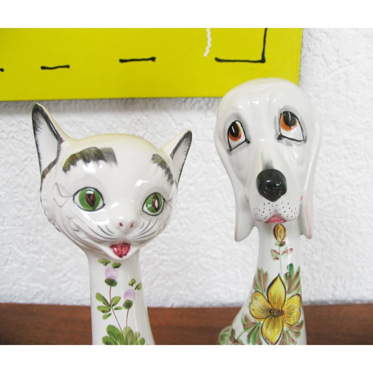 Mid-Century Modern Funny Ceramic Cats and Dog, Italy, 1970s For Sale 5