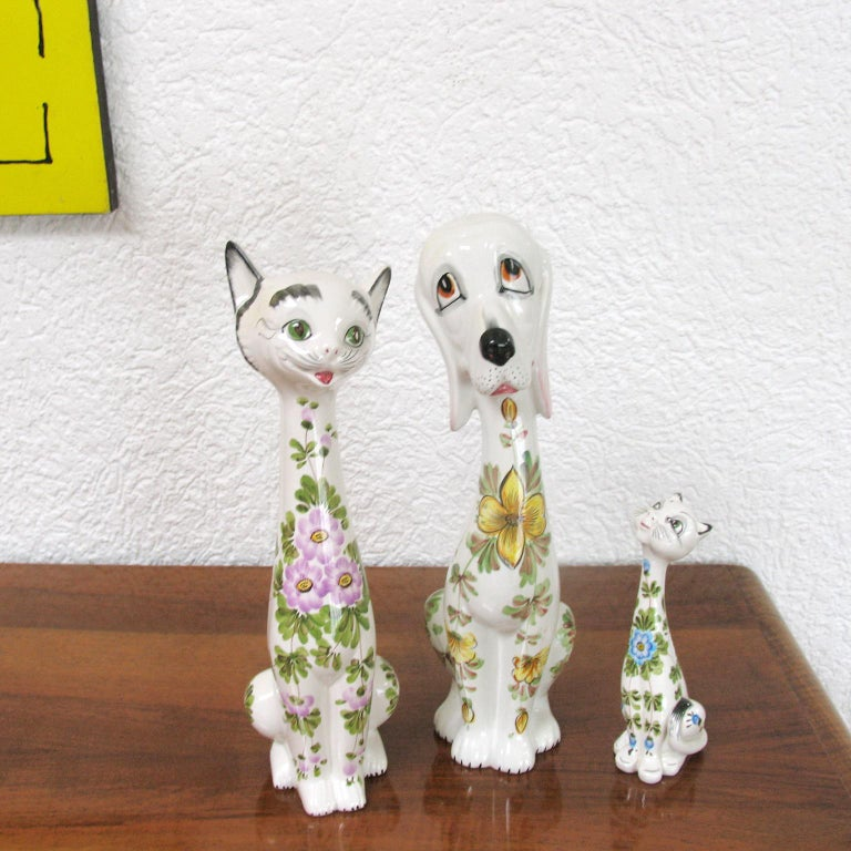 Italian Mid-Century Modern Funny Ceramic Cats and Dog, Italy, 1970s For Sale
