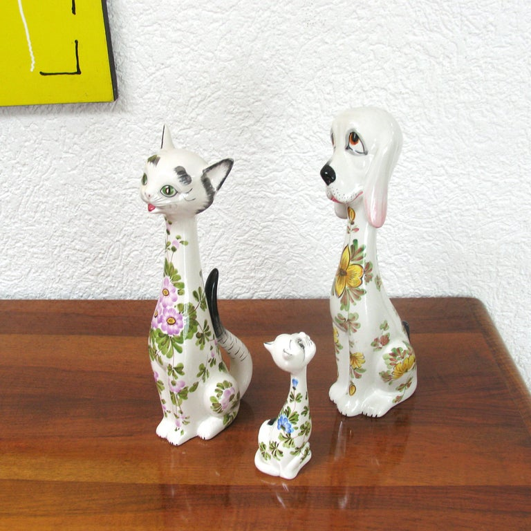 Mid-Century Modern Funny Ceramic Cats and Dog, Italy, 1970s In Excellent Condition For Sale In Bochum, NRW