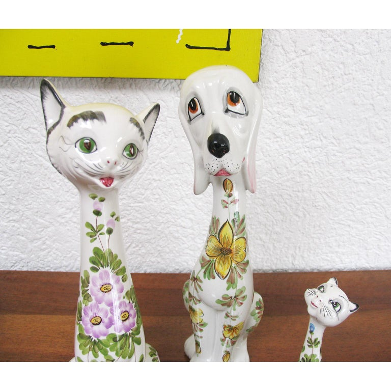 Mid-Century Modern Funny Ceramic Cats and Dog, Italy, 1970s For Sale 2
