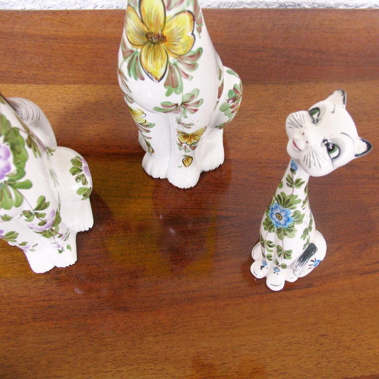 Mid-Century Modern Funny Ceramic Cats and Dog, Italy, 1970s For Sale 3