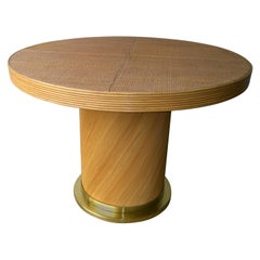 Rattan & Bamboo Circular Pedestal Center Table / Dining Table with Brass Base