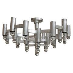 Mid-Century Modern Gaetano Sciolari Made of Steel Italian Pendant Lamp