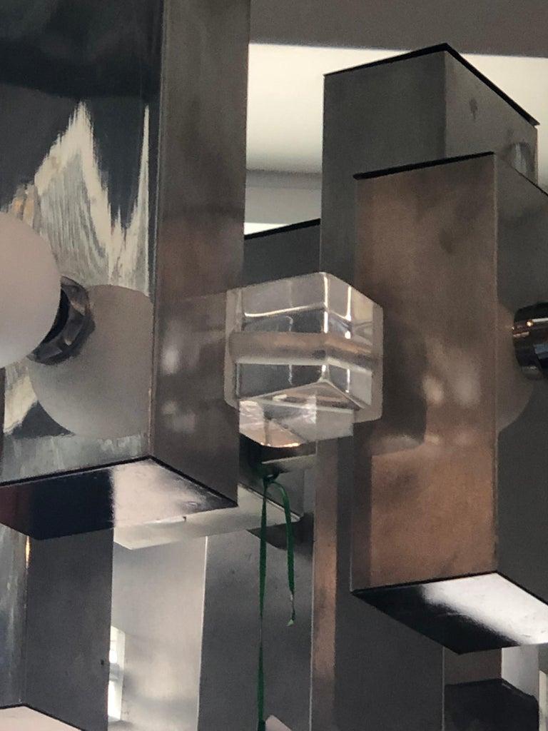 Mid-Century Modern Gaetano Sciolari Mod Chrome & Lucite Geometric Chandelier For Sale 5