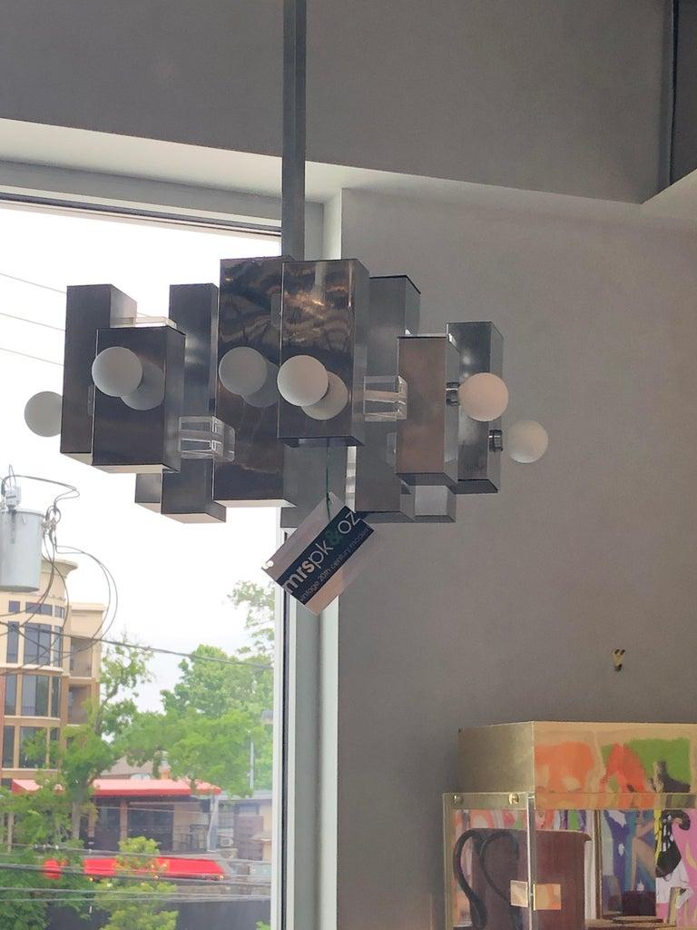 Mid-Century Modern Gaetano Sciolari Mod Chrome & Lucite Geometric Chandelier For Sale 6