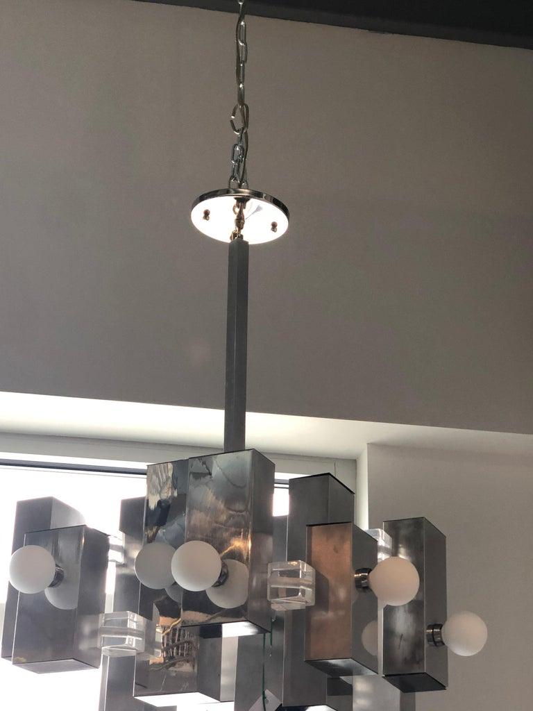 Mid-Century Modern Gaetano Sciolari Mod Chrome & Lucite Geometric Chandelier For Sale 7