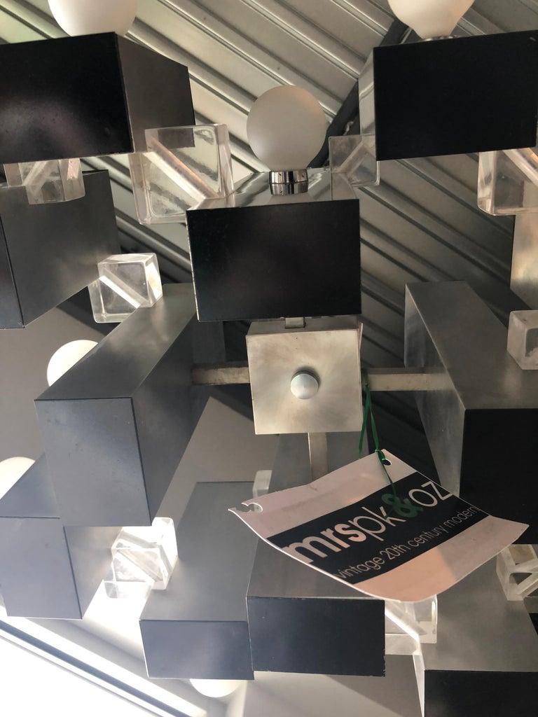 Mid-Century Modern Gaetano Sciolari Mod Chrome & Lucite Geometric Chandelier For Sale 8