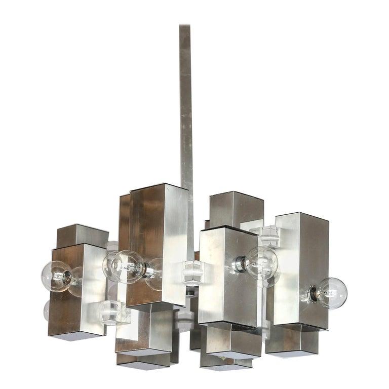 Mid-Century Modern Gaetano Sciolari Mod Chrome & Lucite Geometric Chandelier For Sale