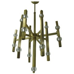 Mid Century Modern Gaetano Sciolari Satin Brass and Crystal Chandelier
