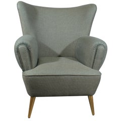 Mid-Century Modern Garland Armchair Wood Legs Cotton Velvet