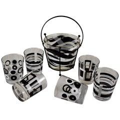 Mid-Century Modern Geometric and Zebra Print Black & White Barware, Set of Eight