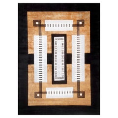 Mid-Century Modern Geometric Copper and White Wool Rug with Architectural and Ar