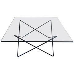 Mid-Century Modern Geometric Italian Black Iron and Glass Coffee Table