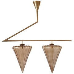 Mid-Century Modern Geometrical Chandelier with Murano Glass Attributed to Seguso