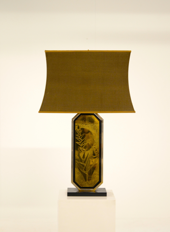 Mid Century Modern George Mathias Table Lamp With Original Lamp Shade 1970s