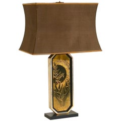Mid-Century Modern George Mathias Table Lamp with Original Lamp Shade, 1970s