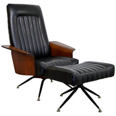 Mid-Century Modern George Mulhauser Mr. Lounge Chair & Ottoman Walnut, 1960s