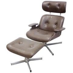 Mid-Century Modern George Mulhauser Plycraft Swivel Lounge Chair & Ottoman