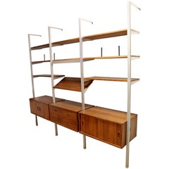 Mid-Century Modern George Nelson 3 Bay Wall Unit Shelves Cabinets