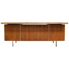 Mid-Century Modern George Nelson Floating Top Walnut Executive 1950s Desk