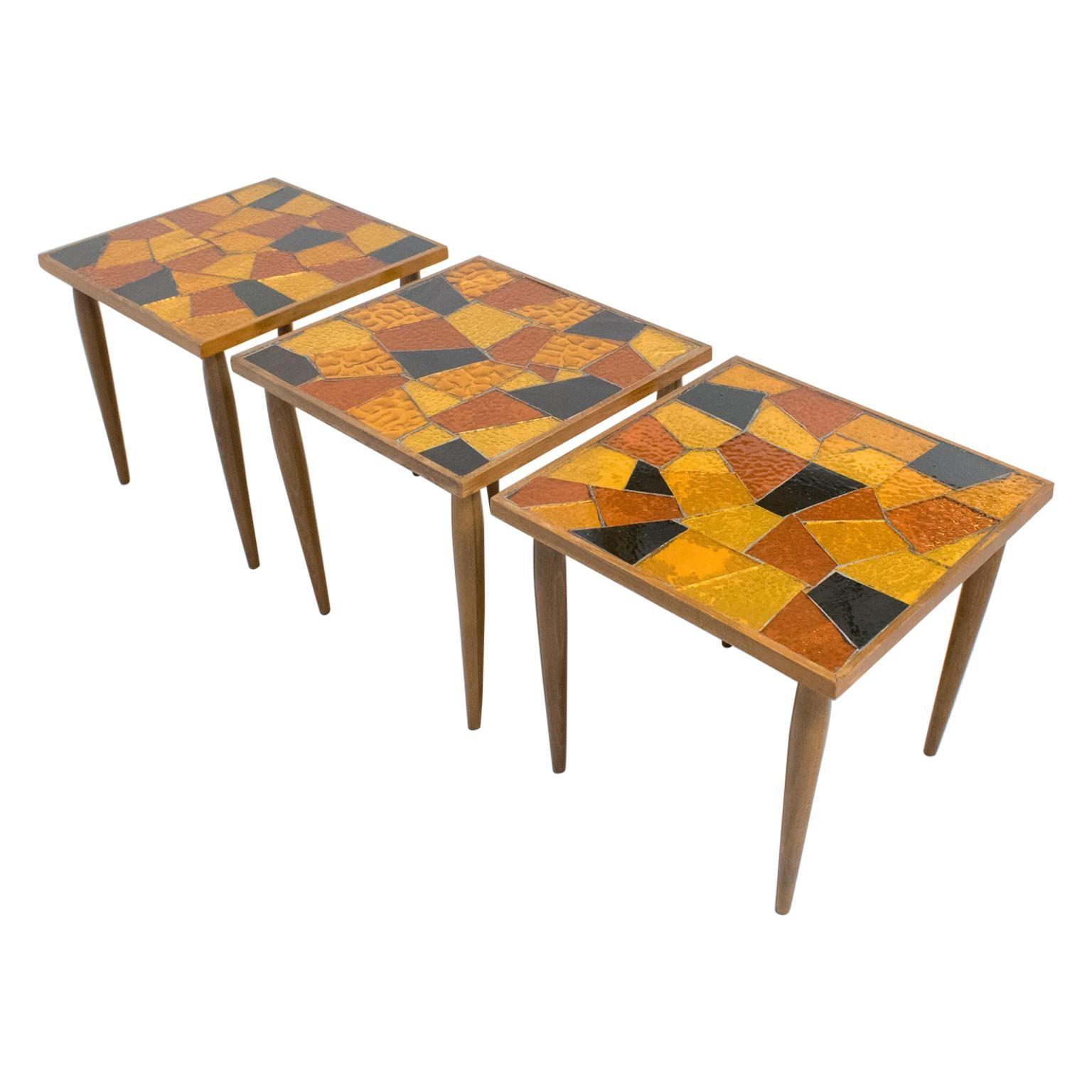 Mid-Century Modern Georges Briard Mosaic Glass Wood Table, a trio