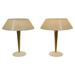 Mid-Century Modern Gerald Thurston for Lightolier Pair Brass Table Lamps 1960s