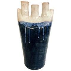 Mid-Century Modern German Abstract Ceramic Studio Pottery Vase in Navy Blue