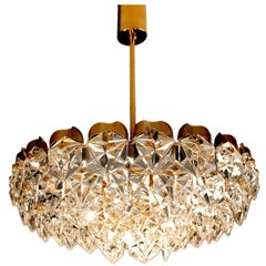 Kinkeldey Gold Brass Chandelier with Hexagonal Crystals, Modernist Design, 1960s