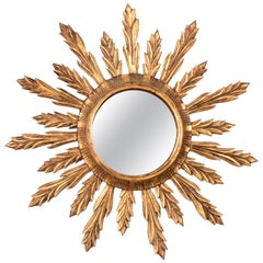 Mid-Century Modern Gilded Wood French Sunburst Wall Mirror, 1950s