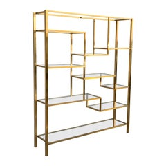 Mid-Century Modern Gilt Aluminium French Hollywood Regency Étagère 1970s, Shelve