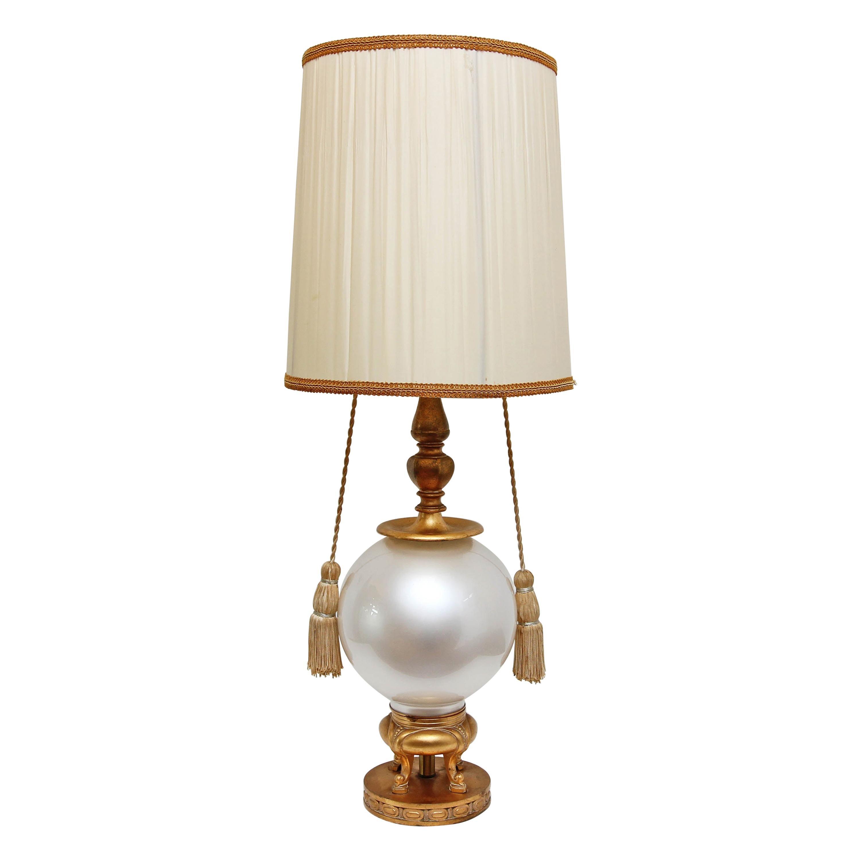 Mid-Century Modern Gilt and Opaline Glass Lamp