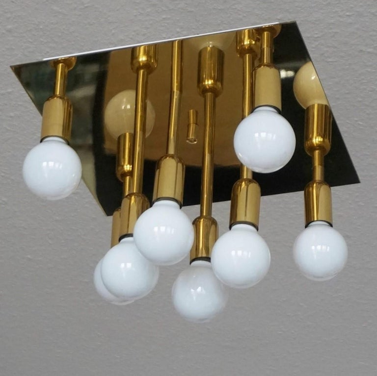German Mid-Century Modern Gilt Brass Eight-Light Flush Mount by Sölken Leuchten, 1960s For Sale