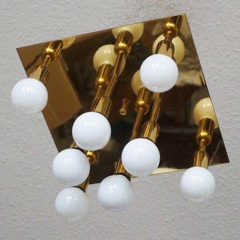 Mid-Century Modern Gilt Brass Eight-Light Flush Mount by Sölken Leuchten, 1960s In Good Condition For Sale In Frankfurt am Main, DE