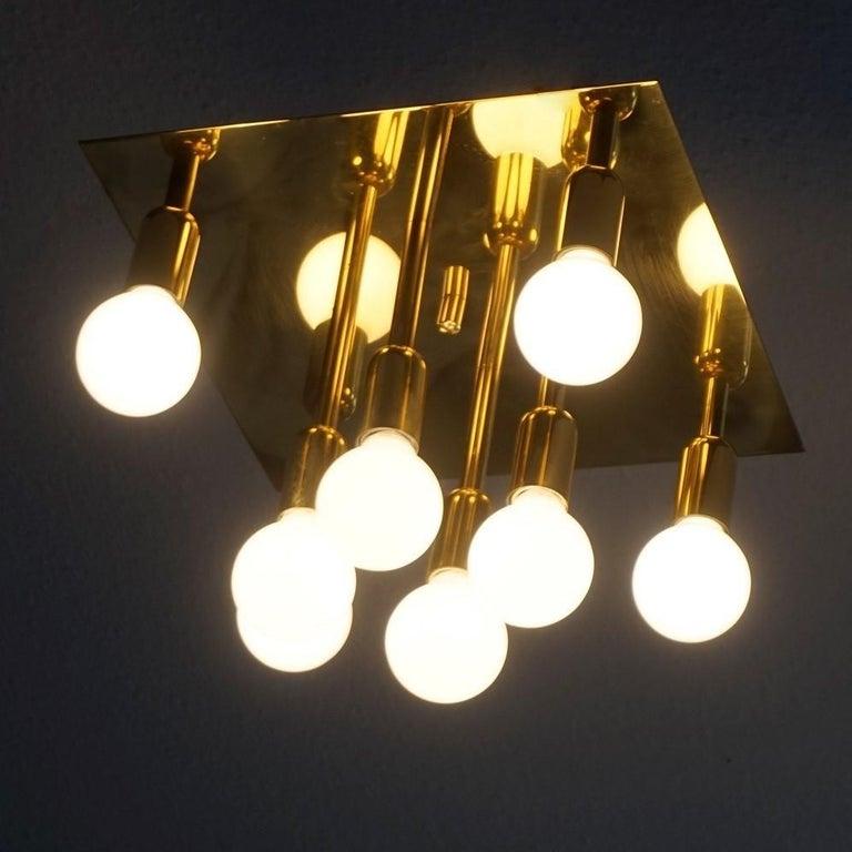 20th Century Mid-Century Modern Gilt Brass Eight-Light Flush Mount by Sölken Leuchten, 1960s For Sale