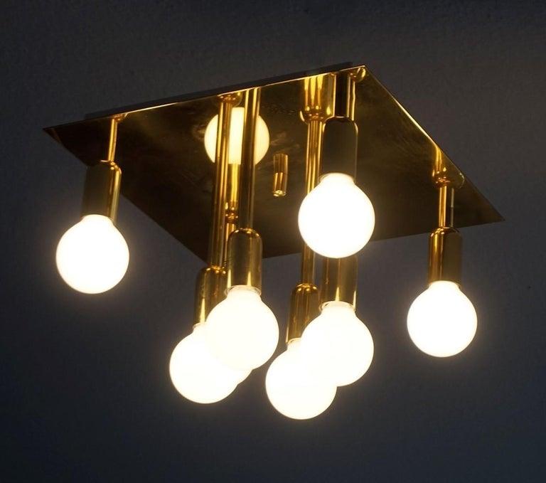 Mid-Century Modern Gilt Brass Eight-Light Flush Mount by Sölken Leuchten, 1960s For Sale 1