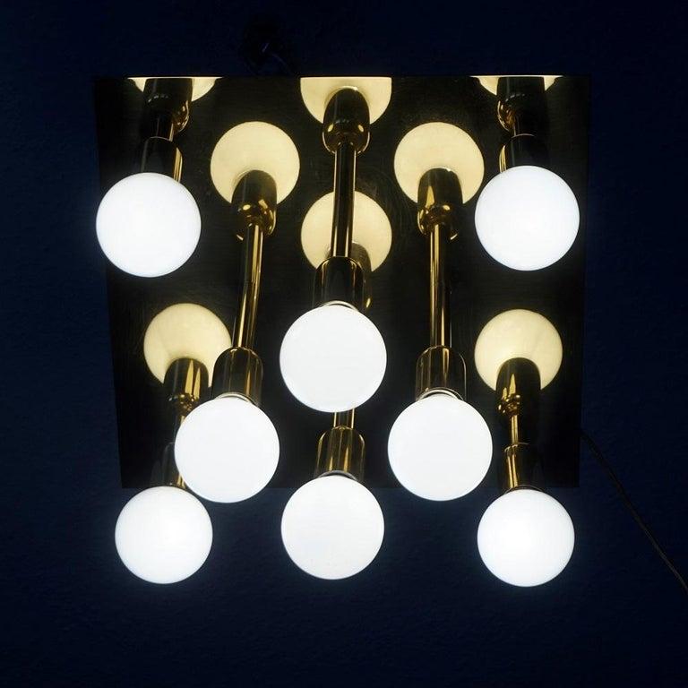 Mid-Century Modern Gilt Brass Eight-Light Flush Mount by Sölken Leuchten, 1960s For Sale 2
