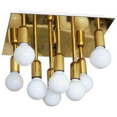 Mid-Century Modern Gilt Brass Eight-Light Flush Mount by Sölken Leuchten, 1960s