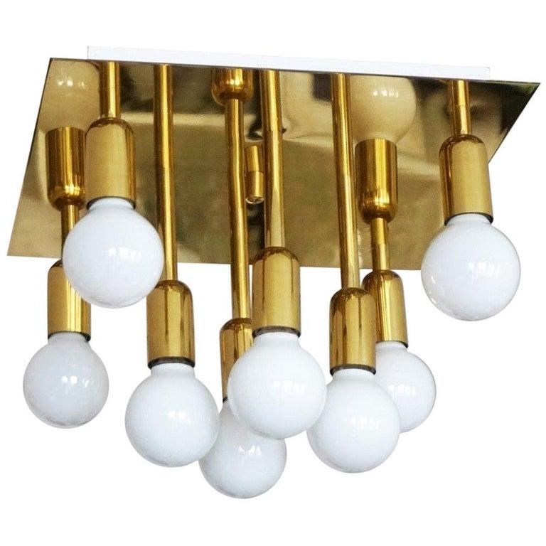 Mid-Century Modern Gilt Brass Eight-Light Flush Mount by Sölken Leuchten, 1960s For Sale