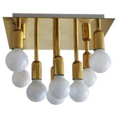 Mid-Century Modern Gilt Brass Eight-Light Flush Mount by Sölken Leuchten, 1960s
