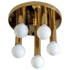 Mid-Century Modern Gilt Brass Five-Light Flushmount by Sölken Leuchten, 1960s